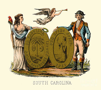 Painting - South Carolina State Arms Of The Union by Celestial Images