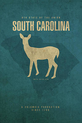 Deer Mixed Media - South Carolina State Facts Minimalist Movie Poster Art by Design Turnpike
