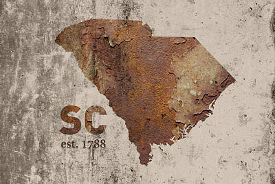 Industrial Mixed Media - South Carolina State Map Industrial Rusted Metal On Cement Wall With Founding Date Series 010 by Design Turnpike