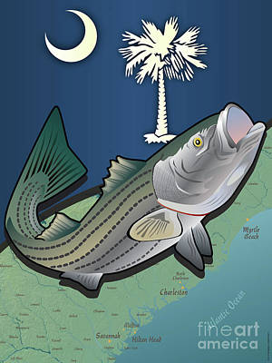 Digital Art - South Carolina Striped Bass by Joe Barsin