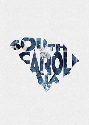 Digital Art - South Carolina Typographic Map Flag by Inspirowl Design
