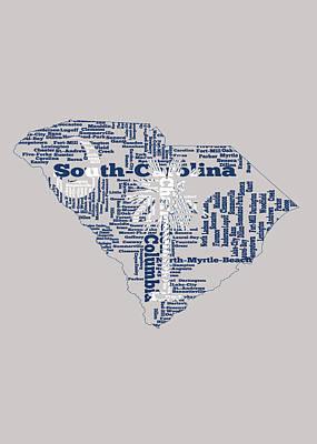 Clemson Mixed Media - South Carolina Word Art 1b by Brian Reaves