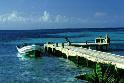 Photograph - South Caye Belize Boat Dock by Gary Wonning