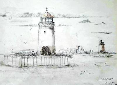 Drawing - Historical South Channel Lights 1859 by Bernadette Krupa