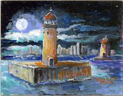 Painting - Historical 1859 South Channel Lights Twilight by Bernadette Krupa
