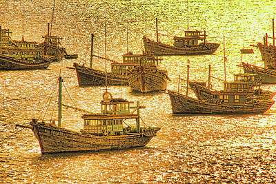 Mixed Media - South China Sea Fishing Boats by Dennis Cox Photo Explorer