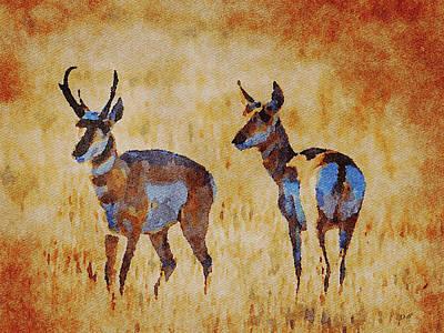 Mixed Media - South Dakota 2017 Antelope by Dennis Buckman