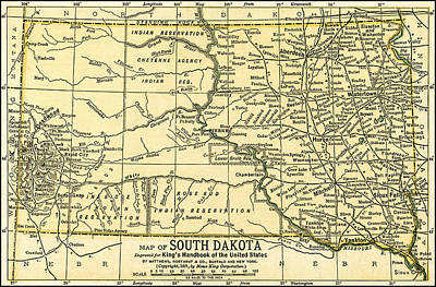 Photograph - South Dakota Antique Map 1891 by Phil Cardamone