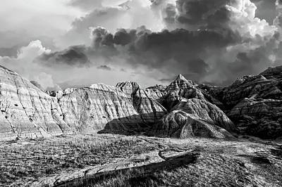 Photograph - South Dakota Badlands Bw by Bonfire Photography
