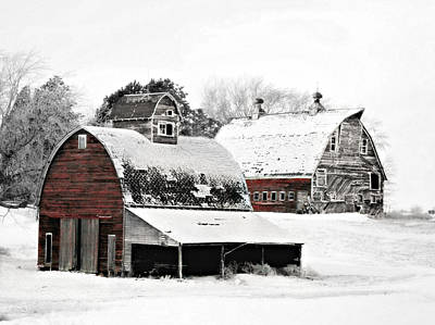 Winter Photograph - South Dakota Farm by Julie Hamilton