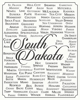 State Of South Dakota Digital Art - South Dakota by Finlay McNevin