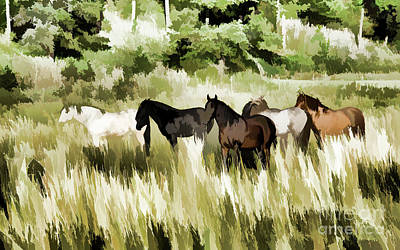 Mixed Media - South Dakota Herd Of Horses by Wilma Birdwell