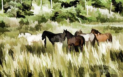 Western Art Mixed Media - South Dakota Herd Of Horses by Wilma Birdwell