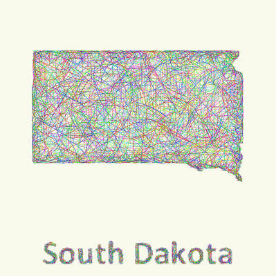 South Dakota Map Digital Art - South Dakota Line Art Map by David Zydd