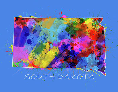State Of South Dakota Digital Art - South Dakota Map Color Splatter 3 by Bekim Art