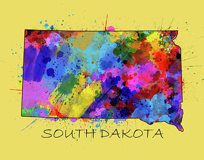 State Of South Dakota Digital Art - South Dakota Map Color Splatter 4 by Bekim Art