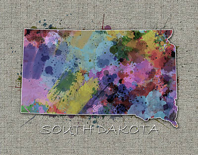 State Of South Dakota Digital Art - South Dakota Map Color Splatter 5 by Bekim Art