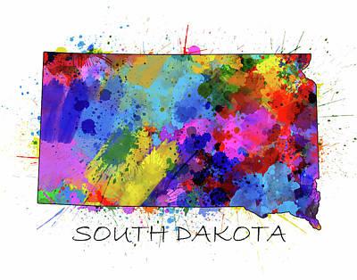 South Dakota Map Color Splatter Art Print