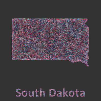 South Dakota Map Digital Art - South Dakota Map by David Zydd
