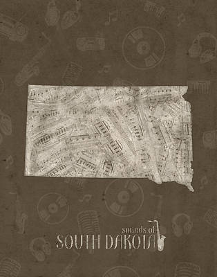 State Of South Dakota Digital Art - South Dakota Map Music Notes 3 by Bekim Art