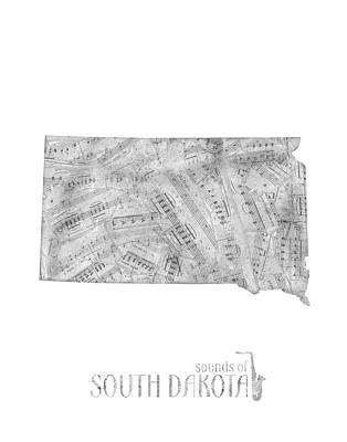 State Of South Dakota Digital Art - South Dakota Map Music Notes by Bekim Art