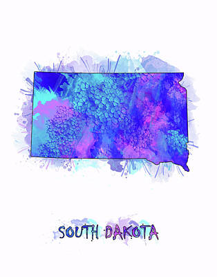 State Of South Dakota Digital Art - South Dakota Map Watercolor 2 by Bekim Art