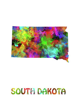 State Of South Dakota Digital Art - South Dakota Map Watercolor by Bekim Art