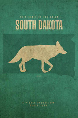 State Of South Dakota Mixed Media - South Dakota State Facts Minimalist Movie Poster Art by Design Turnpike