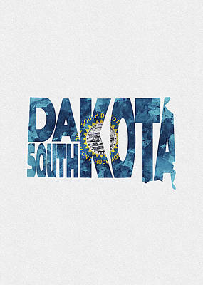 World Map Poster Digital Art - South Dakota Typographic Map Flag by Inspirowl Design
