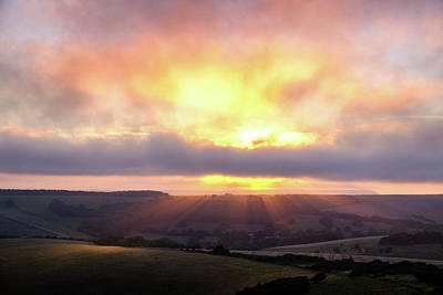 Photograph - South Downs Sunset by Will Gudgeon