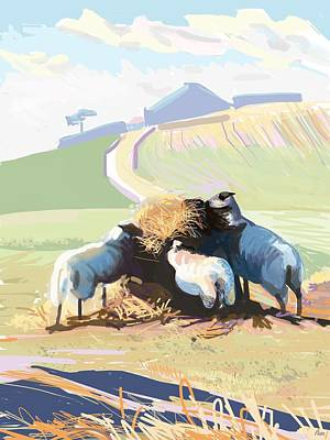 Sheep Digital Art - South Downs Way by Plum Ovelgonne