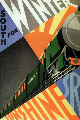Vintage Locomotive Painting - South For Winter - Southern Railway Art Deco Poster - Vintage Travel Advertising by Studio Grafiikka