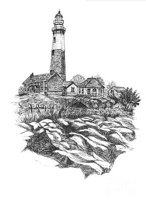 North Fork Painting - South Fork Lighthouse L I N Y  Bw by Carol Wisniewski
