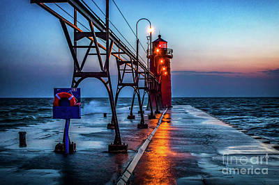 Photograph - South Haven Pier Light by Nick Zelinsky