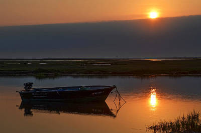 Seascape Photograph - South Jersey Sunrise - Fishing Boat by Bill Cannon
