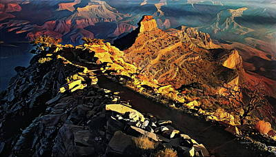 Mountains Painting - South Kaibab Trail - Grand Canyon by Russ Harris