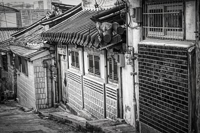 Korea Photograph - South Korean Hanok Street Bw by Joan Carroll