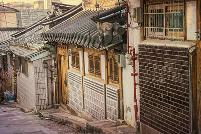 South Korea Photograph - South Korean Hanok Street by Joan Carroll
