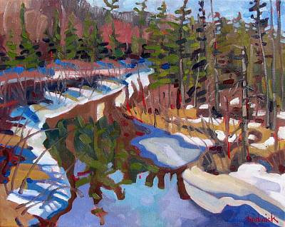 Snow Melt Painting - South Magnetawan Midday by Phil Chadwick