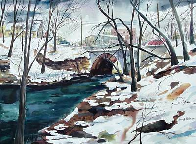 Millbury Painting - South Main Street Bridge by Scott Nelson