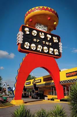Photograph - South Of The Border Sign by Gary Warnimont