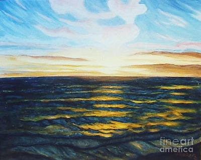 Sunrise Over Water Painting - South Pacific Coastline by Nancy Rucker