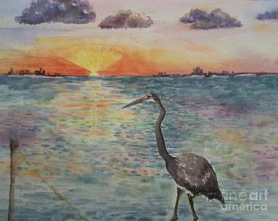 Painting - South Padre Sunset by Lynn Maverick Denzer