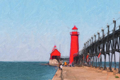 South Pier Of Grand Haven Print by Tom Mc Nemar