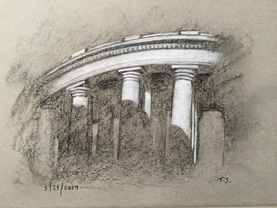 Drawing - South Portico Of St. Peter's Square by Timothy Jones