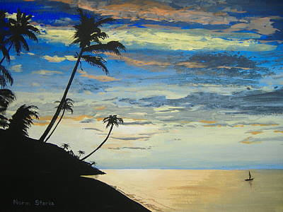Art Print featuring the painting South Sea Sunset by Norm Starks
