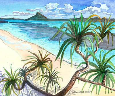 Hawaiian Canoe Painting - south Sea View by Michele Ross