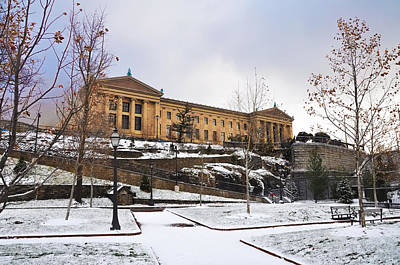 South Side Of The Philadelphia Art Museum In The Winter Art Print by Bill Cannon