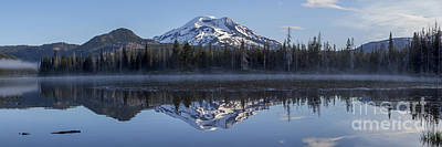 Bend Oregon Photograph - South Sister Reflection Panorama by Twenty Two North Photography