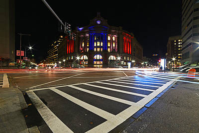 South Station Boston Ma Movement In The Night In Red, White And Blue Print by Toby McGuire
